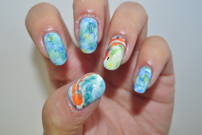 Koi fish nails nail art by Ramy Ang - Nailpolis: Museum of Nail Art