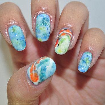 Koi fish nails nail art by Ramy Ang