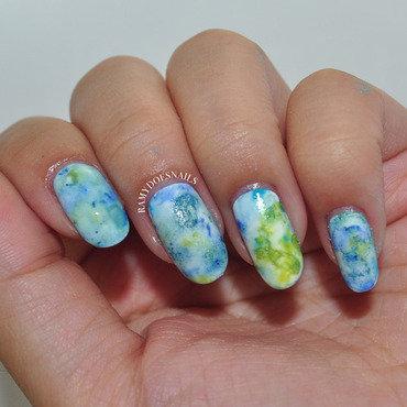 Salt + watercolor nails nail art by Ramy Ang
