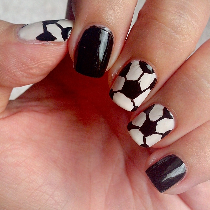 Soccer Ball nail art by Judy Ann Chio