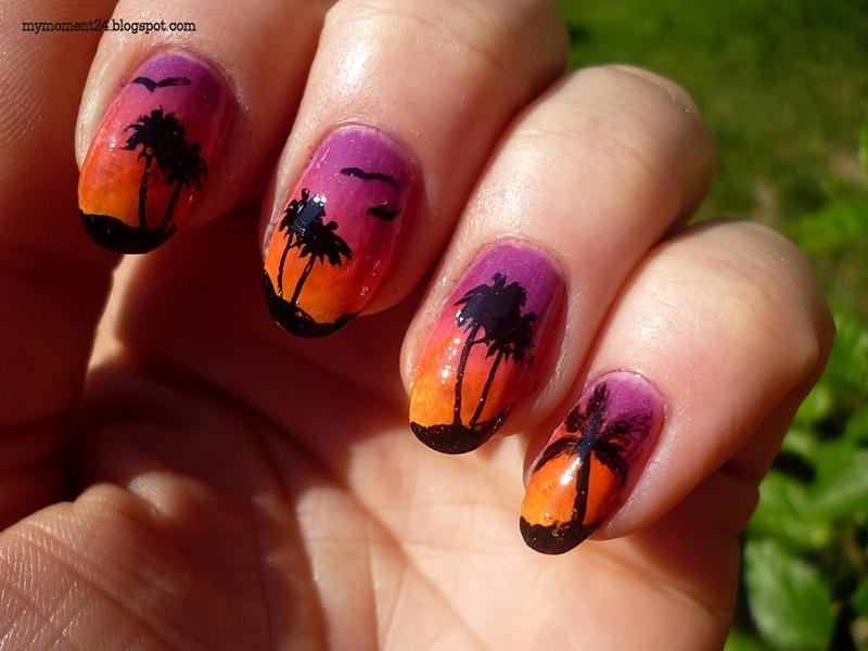 Palm trees nail art by T. Andi