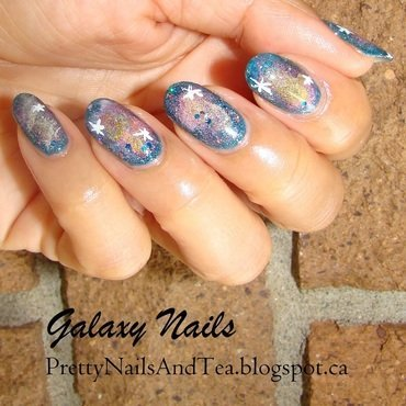 Galaxy Nails nail art by PrettyNailsAndTea
