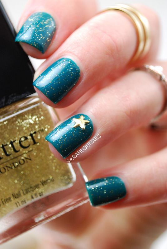 Teal Studded Nails! nail art by Sarah S