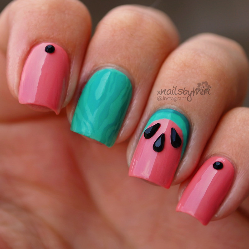 Watermelon Nails nail art by xNailsByMiri