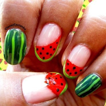 Refreshing Watermelon nail art by Stacey  Castanha