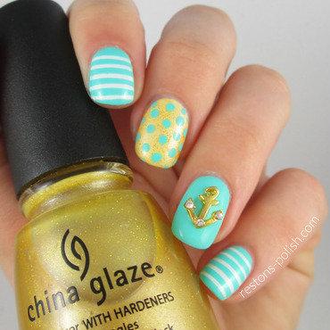 Navy  nail art by Restons polish