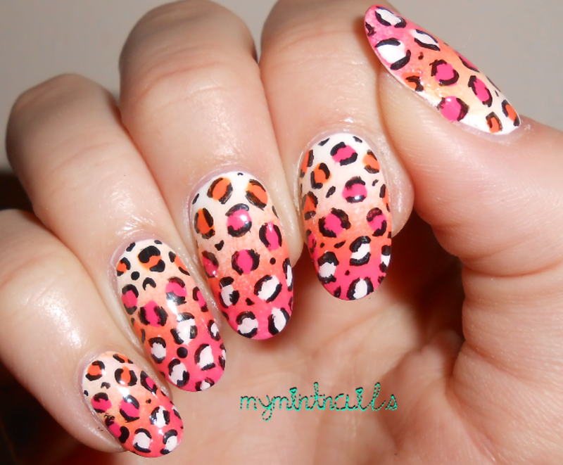 Leopard-y Gradient nail art by MyMintNails