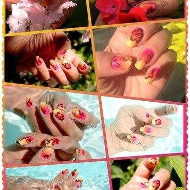 Hawaian poptastic nail art by Elodie Mayer