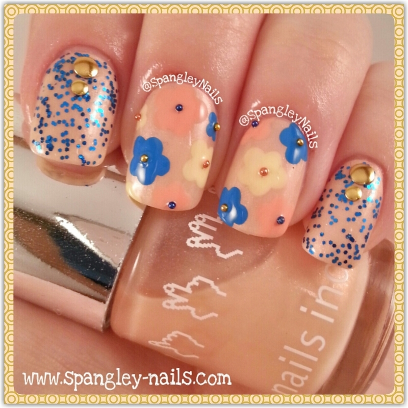 Then & Now Sparkles And Flowers nail art by Nicole Louise