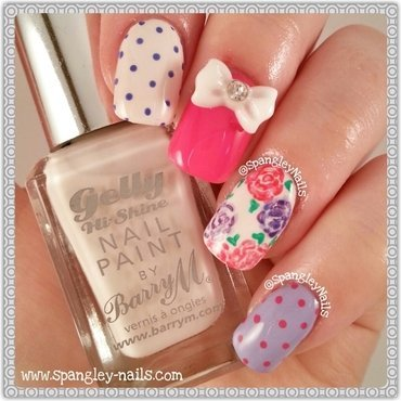 Polka Dots & Flowers Nail Art nail art by Nicole Louise