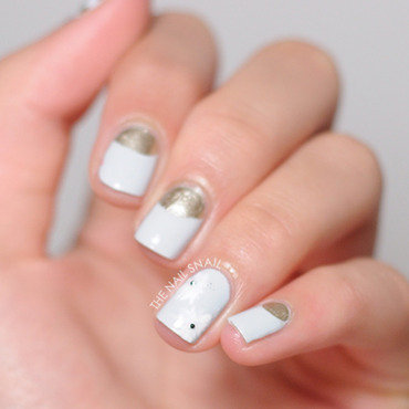 Halfmoons & Daisies nail art by Lucy (the Nail Snail)