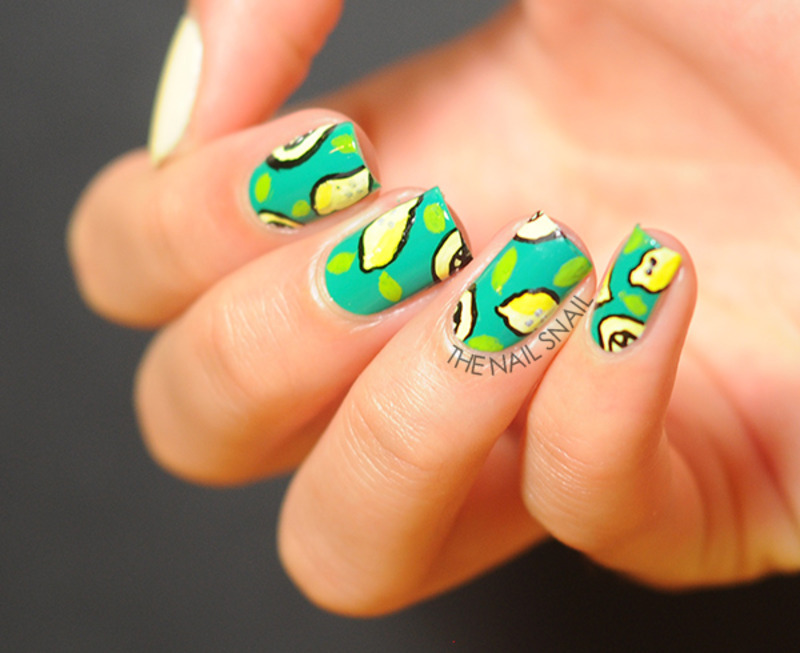 Lemons nail art by Lucy (the Nail Snail)