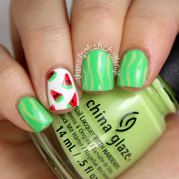Beginner Watermelon Nail Art nail art by Kelli Dobrin