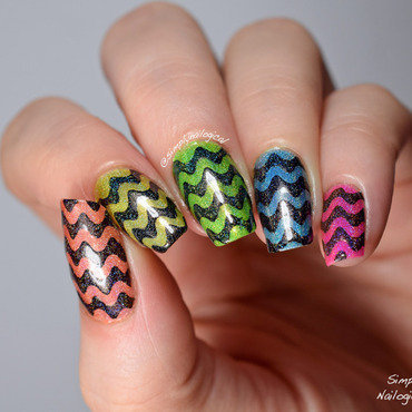 Neon holo jelly time with black wavy squiggles nail art by simplynailogical