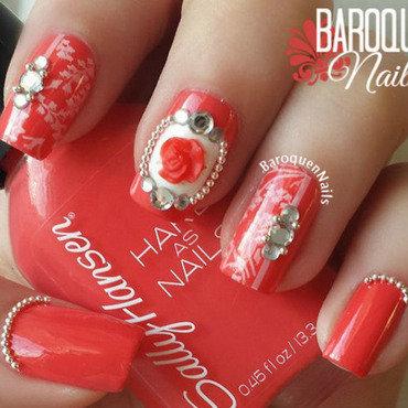 Summer Rose nail art by BaroquenNails
