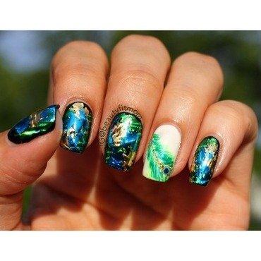 Peacock nails nail art by Beautyfitmom