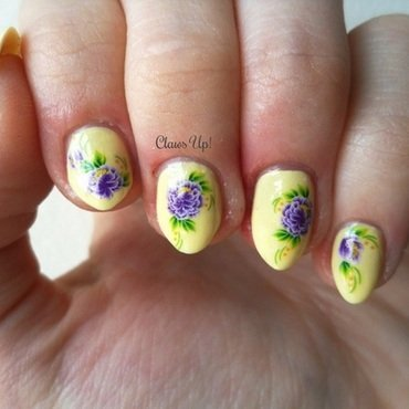 Purple Flowers nail art by Jacquie