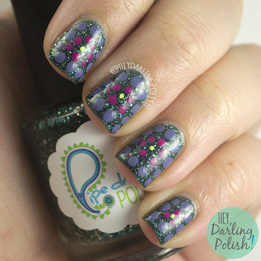 Green glitter purple pink polka dot nail art 4 thumb370f