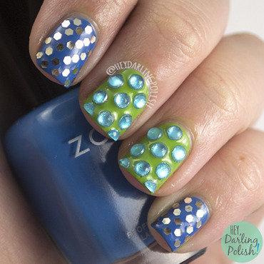Blue green glitter rhinestone nail art 4 thumb370f