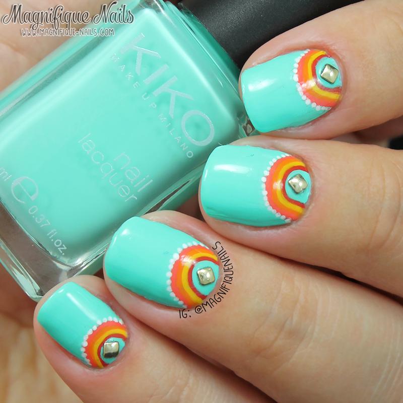 Minty Coral Nails  nail art by Ana