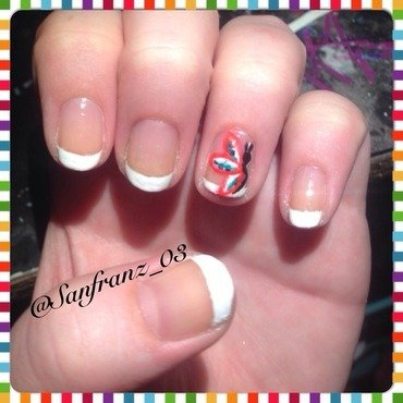 French mani with butterfly! nail art by Sandy