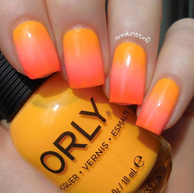 Tropcial Neon Ombre Nails nail art by Ann-Kristin