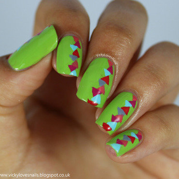 Bright Geometric Triangles nail art by Vicky Standage