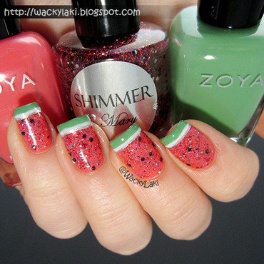 Sparkly Watermelon nail art by Anutka