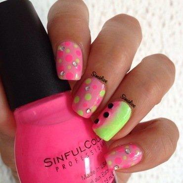 Neon watermelon nail art by Simona