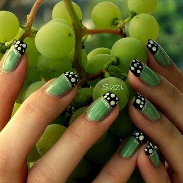 Green, Black & Dots nail art by Suzi - Beauty by Suzi