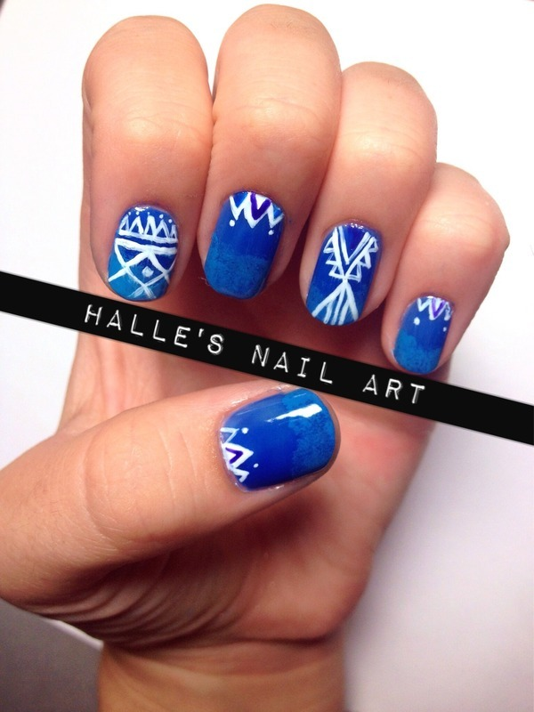 Water Tribe nail art by Halle Butler