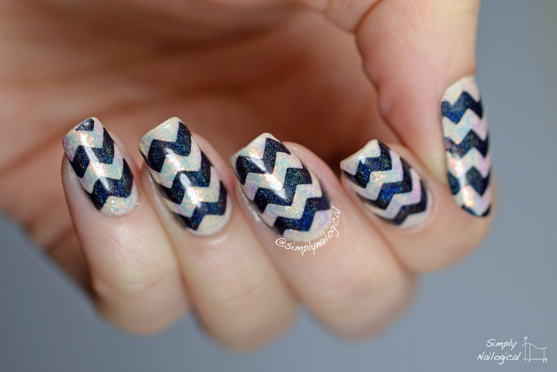 Black holo chevrons over nude flakies nail art by simplynailogical