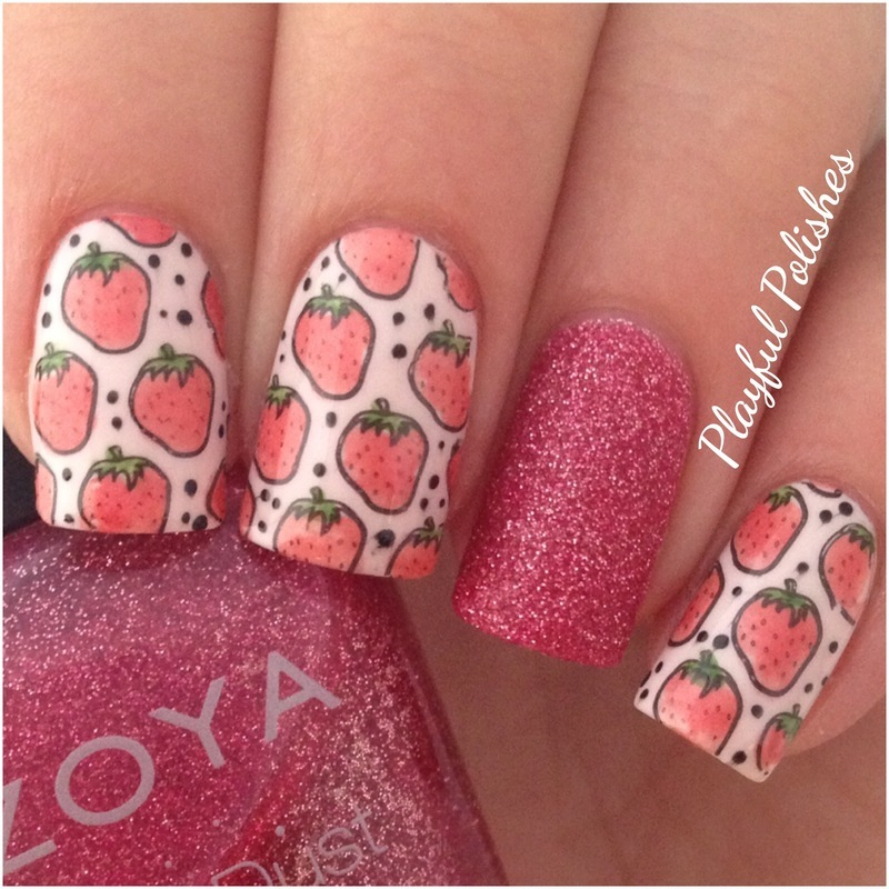 Strawberry Nail Art/Advanced Stamping nail art by Playful Polishes