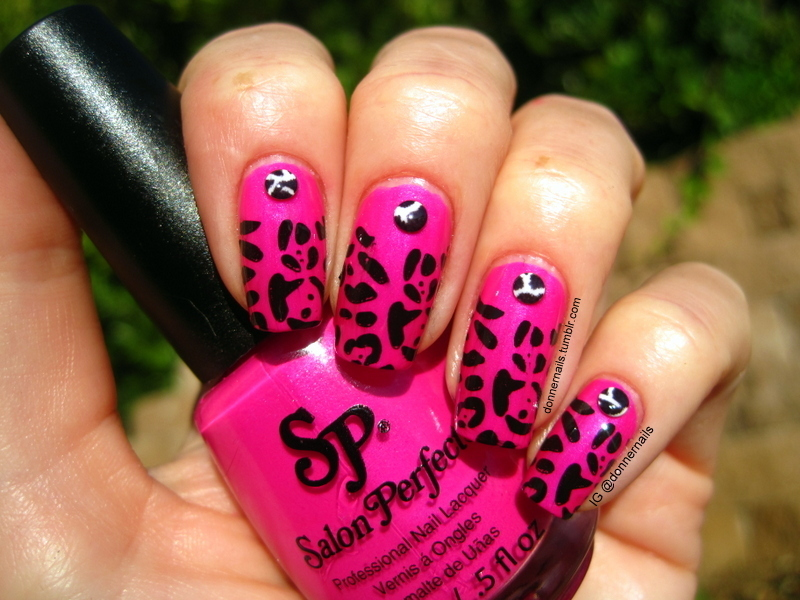 Pink Leopard nail art by Donner