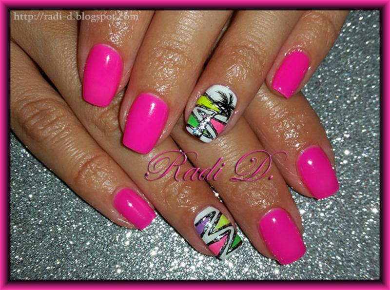 Pink neon gel polish with foil ornaments nail art by Radi Dimitrova ...