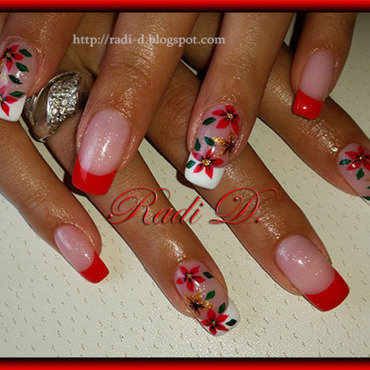 Red french & Flowers with gel polish nail art by Radi Dimitrova