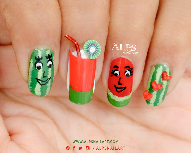 Water Melon Nail art by alpsnailart nail art by Alpsnailart