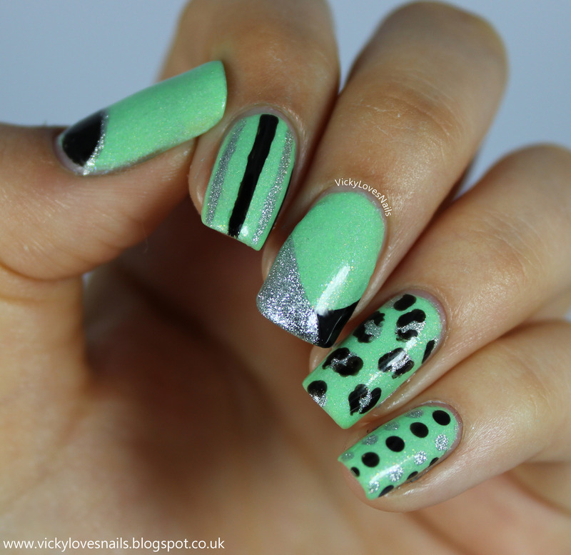 Green, Silver and Black Skittle nail art by Vicky Standage