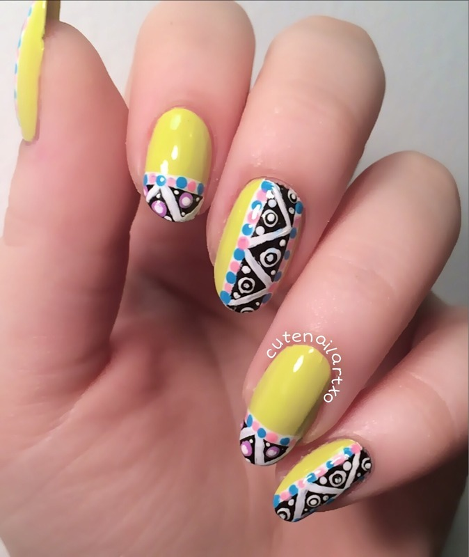 Cute tribal mani  nail art by Kristen