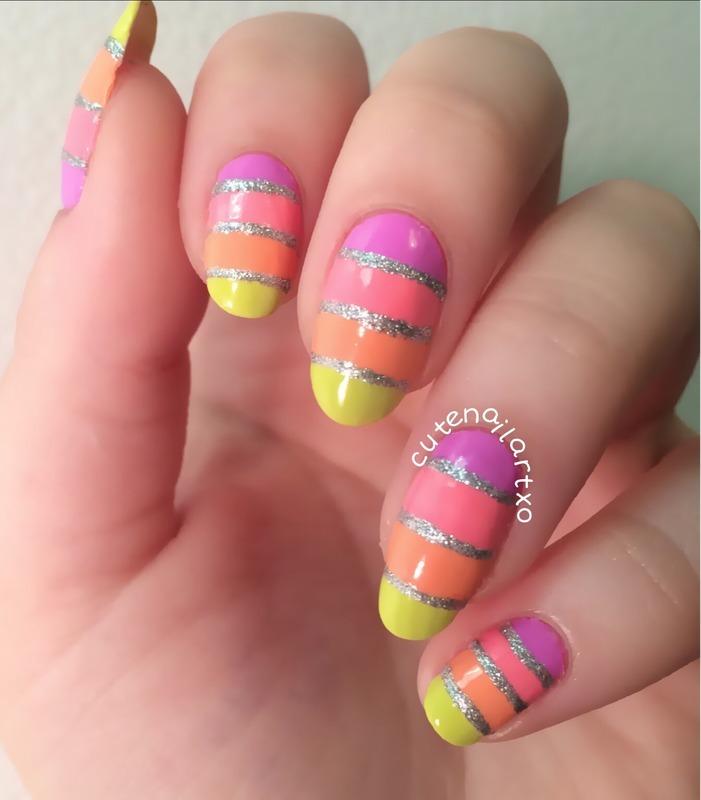 Freehand stripes! nail art by Kristen