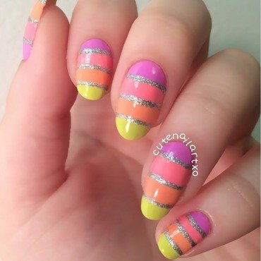 Freehand stripes! nail art by Kristen