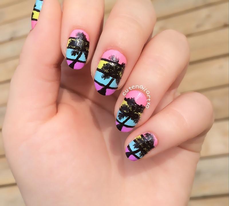 Palm tree nail art! nail art by Kristen