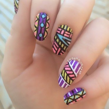 Funky tribal nails 💅 nail art by Kristen