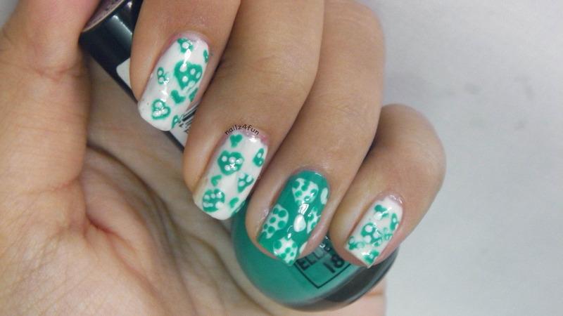 Teal Hearts nail art by Nailz4fun