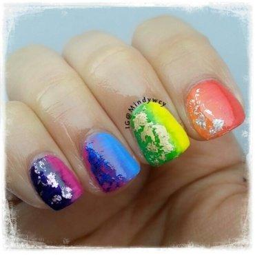 rainbow, rainfoil nail art by mindywong