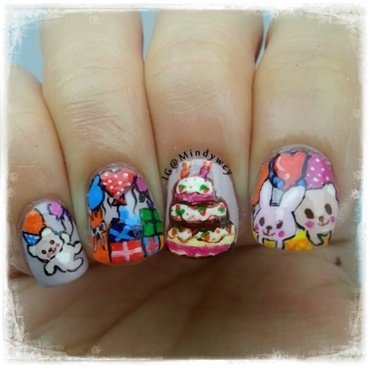 happy birthday to you!  nail art by mindywong