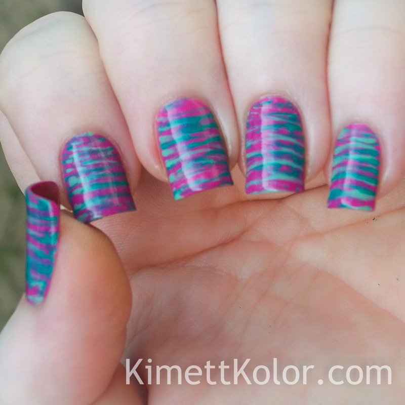 Fan-tasy Stripes nail art by Kimett Kolor
