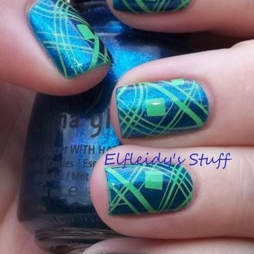 Geometric double stamping nail art by Jenette Maitland-Tomblin