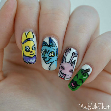 Neopet nails nail art by Nicole M