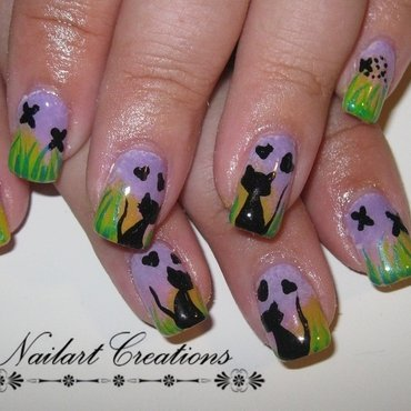 Kitty's in the morning sun nail art by Nailart Creations